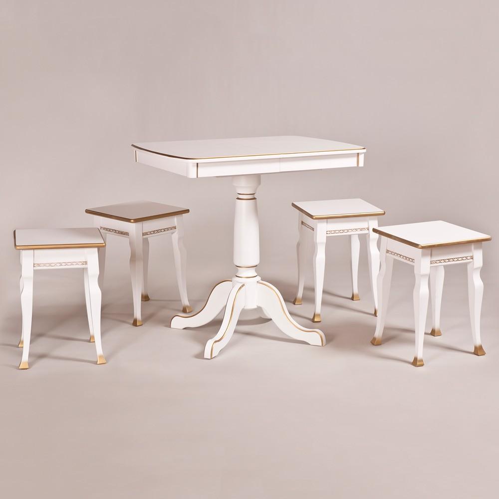 Классический обеденный стол трансформер «Центр» для кухни из массива дерева №20