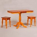 Классический обеденный стол трансформер «Центр» для кухни из массива дерева №5
