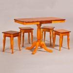 Классический обеденный стол трансформер «Центр» для кухни из массива дерева №4