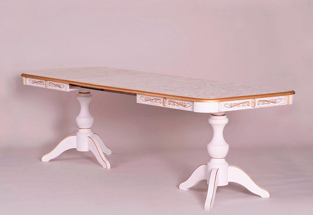 Кухонный стол трансформер из массива дерева «Элегия-2М» в классическом стиле №2